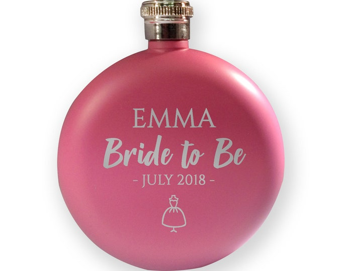 Engraved HEN BACHELORETTE hip flask gift, bride to be present, bride to be - 5PK-HEN3