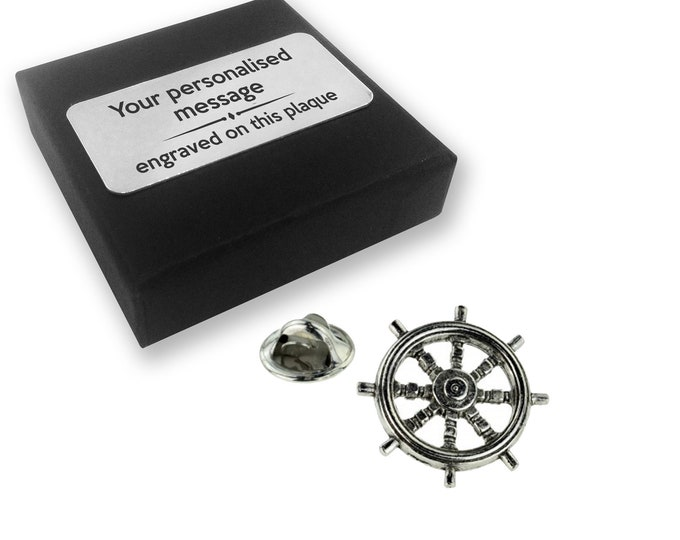 Ships wheel, boat, nautical, PEWTER, lapel pin badge, tie pin, brooch accessory, boutonniere - personalised engraved gift box - 140