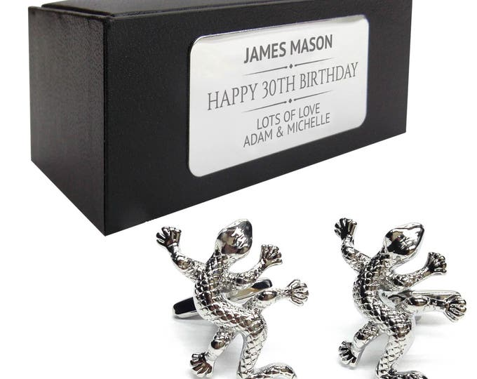 Lizard ghecko reptile CUFFLINKS gift, personalised engraved cuff link box - 026