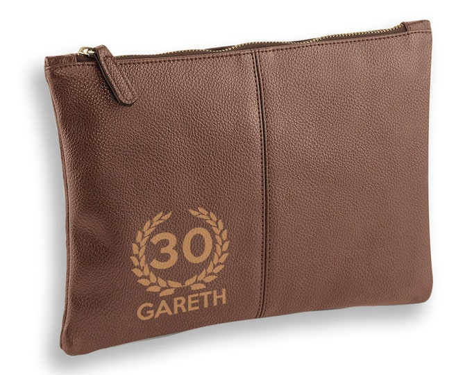 Personalised engraved 30th Birthday BROWN LEATHER pu accessory, tablet, wash bag, toiletry case - AC-L30
