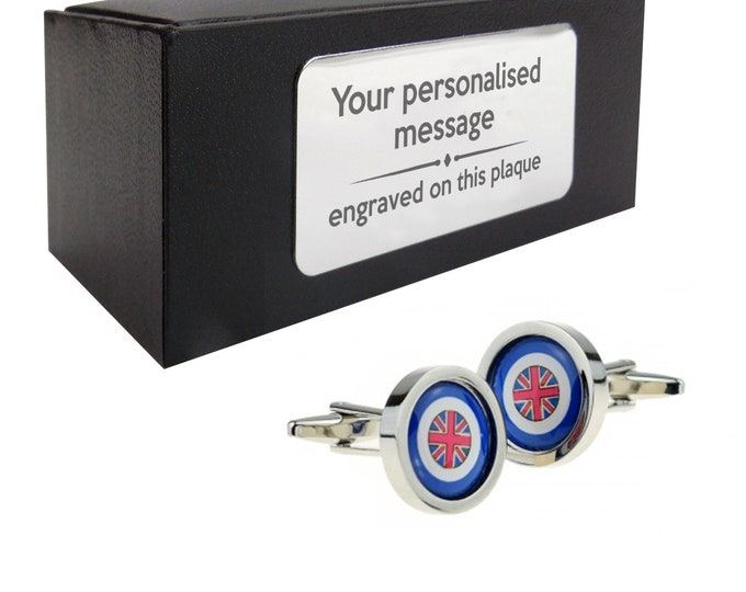RAF, roundel, novelty CUFFLINKS birthday gift, presentation box Personalised ENGRAVED customized plate - 176a