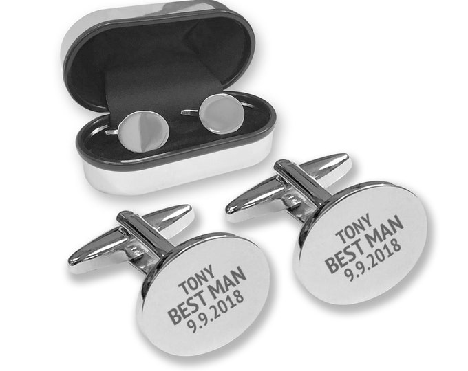 Personalised engraved BEST MAN oval wedding cufflinks gift, cuff links in chrome coloured presentation box - COV-WN3
