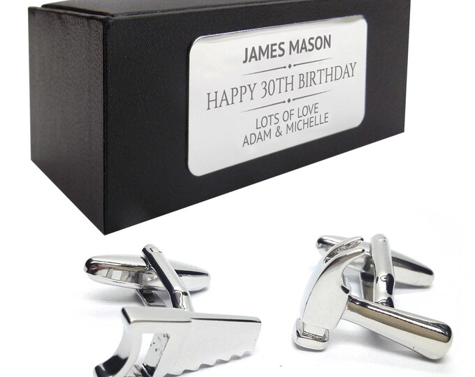 Hammer Saw diy tools CUFFLINKS birthday gift, presentation box PERSONALISED ENGRAVED plate - 036