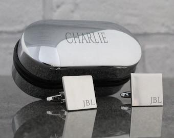 Custom engraved, MONOGRAM cufflinks, initial, cuff links, monogrammed; engraved cufflinks box - SQ1-NAM