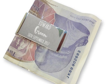 Personalised engraved groom MONEY CLIP wedding gift, thank you - silver plated  - AM5