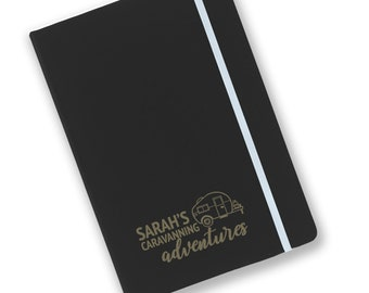 Personalised engraved A5 soft touch, black notebook, Caravan adventures journal, book, notepad, lined notebook - BKA5-NOTE6