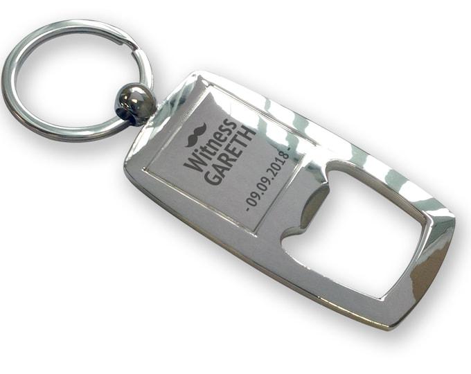 Personalised engraved WITNESS bottle opener keyring gift, wedding thank you keychain, moustache - FTB-M5