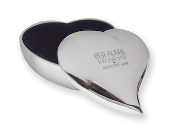 Personalised engraved Best AUNTIE AUNTY Ever trinket box gift, silver plated, contoured heart  - SLT-L4
