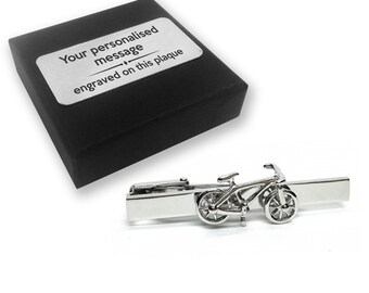 Bicycle, cycle, cyclist, bike, TIE CLIP, tie tac, personalised ENGRAVED novelty birthday christmas wedding gift - 065