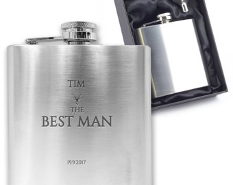 Personalised engraved BEST MAN hip flask wedding thank you gift idea, stainless steel presentation box - CO2
