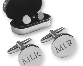 Personalised engraved MONOGRAM, MONOGRAMMED, custom, round cufflinks gift, chrome coloured presentation box - RC-MON1