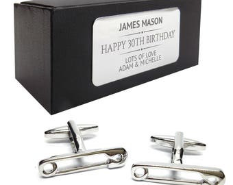 Safety pin new dad CUFFLINKS 30th, 40th, 50th, 60th, 70th birthday gift, presentation box personalised ENGRAVED plate - 128