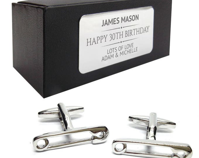 Safety pin, new dad, new baby CUFFLINKS birthday gift, presentation box personalised ENGRAVED plate - 128