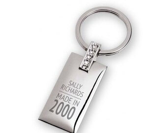 Personalised engraved 18TH BIRTHDAY keyring with 5 crystals, rectangle with a polished chromed finish  - 7129-18