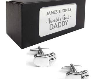 Computer IT programmer mouse CUFFLINKS birthday gift, presentation box personalised ENGRAVED plate - 058