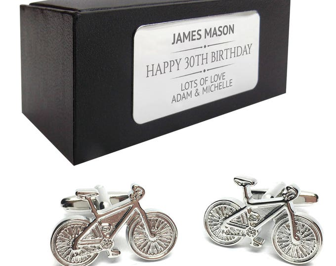 Cyclist bicycle cycle CUFFLINKS birthday gift, presentation box PERSONALISED ENGRAVED plate - 615