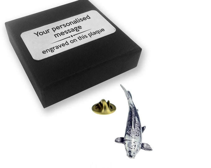 Koi, carp, fish, PEWTER, lapel pin badge, tie pin, brooch accessory, boutonniere - personalised engraved gift box - 028
