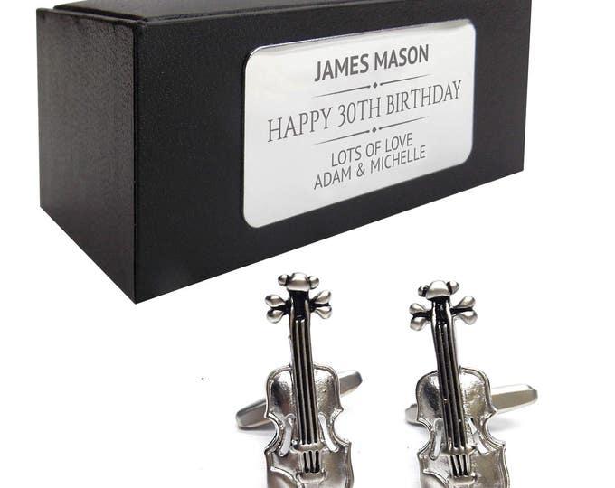 Violin, viola, cello music CUFFLINKS gift, presentation box personalised ENGRAVED plate - 002