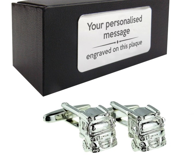 Lorry driver HGV truck CUFFLINKS gift for him, personalised engraved cuff link box - 017