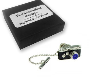 Photographer, camera, photography TIE CLIP, tie tac, personalised Engraved novelty birthday christmas wedding gift - TT122