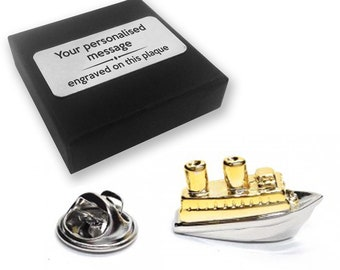 Cruise, ship, boat, lapel pin badge, tie pin, brooch accessory, boutonniere - personalised engraved gift box - 590