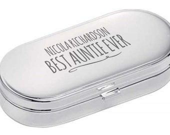 Personalised engraved PILL BOX gift for AUNTIE, World's Best, dual compartment, mirror lid, polished chrome metal - 9004-NY8