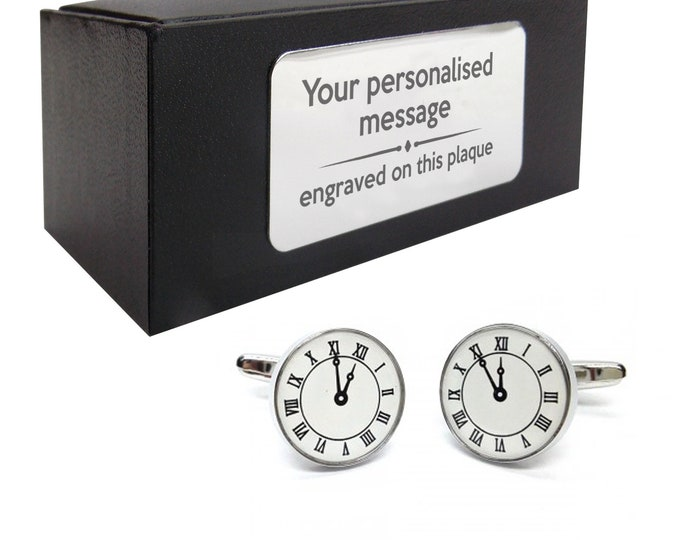 Clock, time, clockface, watch novelty CUFFLINKS birthday gift, presentation box Personalised ENGRAVED customized plate - 291c