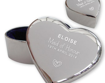 Personalised engraved MAID OF HONOUR heart shaped trinket box wedding thank you gift idea  - TRW3