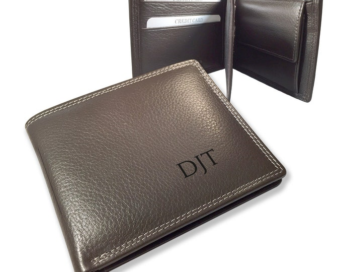 Engraved MONOGRAM brown leather wallet gift for him, personalised trifold wallet with coin pocket - DALMON1