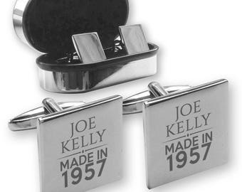 Personalised engraved 60TH BIRTHDAY cufflinks, in a chrome coloured presentation box, Made in 1957 - MAD60