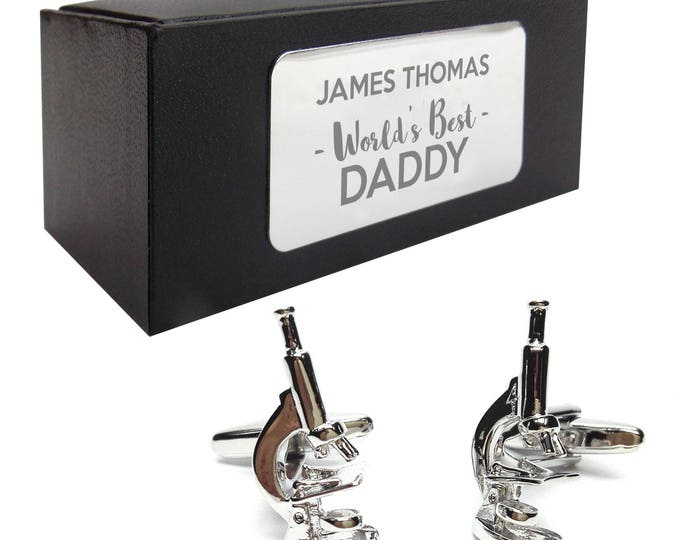 Science teacher microscope laboratory CUFFLINKS, presentation box PERSONALISED ENGRAVED plate - 428