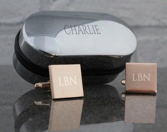 Custom engraved MONOGRAM cufflinks gift for him, personalised initial cufflinks, rose gold, monogrammed; engraved cufflinks box - RSQ2-NAM
