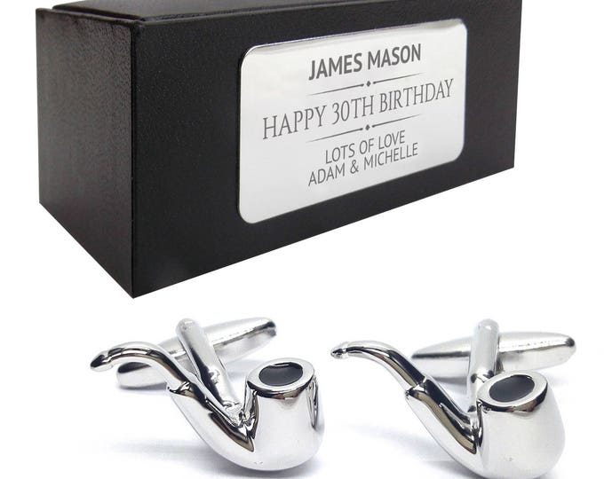 Smoking pipe, smoker CUFFLINKS birthday gift, presentation box PERSONALISED ENGRAVED plate - 350