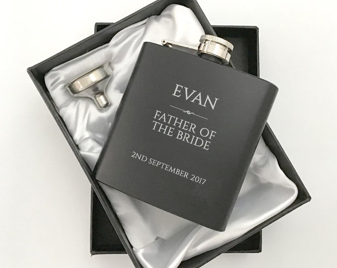 Personalised engraved FATHER of the BRIDE hip flask WEDDING gift idea, black coated stainless steel presentation box - RET5