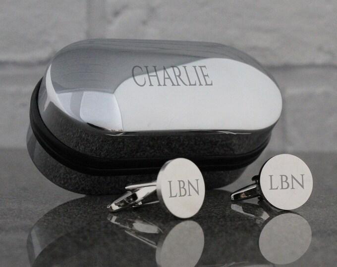 Engraved cufflinks, monogram, ROUND cuff links, monogrammed, initials, engraved cufflinks box - RD-NAME