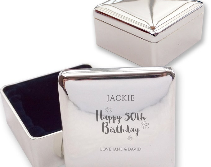 Personalised engraved 50TH BIRTHDAY square shaped trinket box gift idea, flowers  - HB50