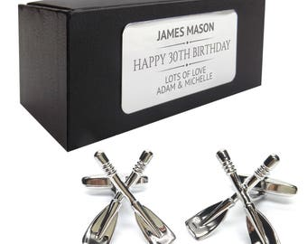 Rowing oars paddles CUFFLINKS birthday gift, presentation box PERSONALISED ENGRAVED plate - 037