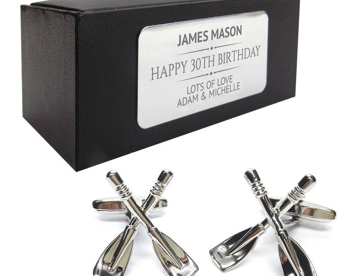 Rowing oars paddles rower CUFFLINKS gift for him, personalised engraved cufflink box - 037