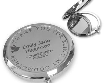 Personalised engraved GODMOTHER christening baptism compact mirror gift, handbag mirror Push button, deluxe - PBGD2