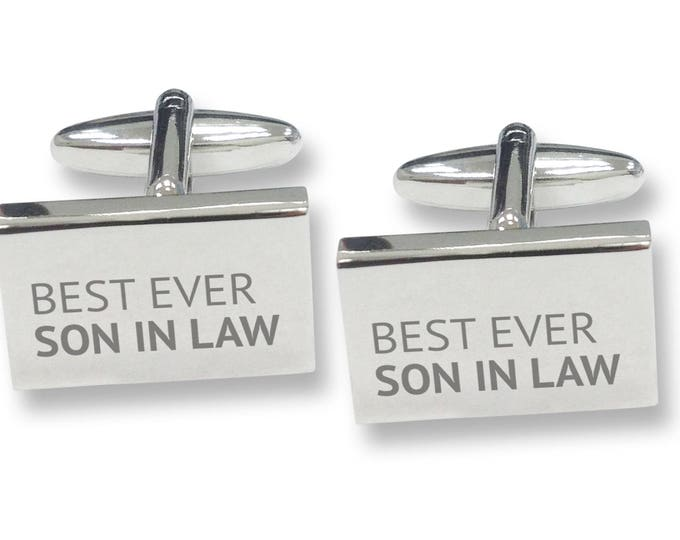 Engraved best ever SON IN LAW rectangle cufflinks, rhodium plated - BES11