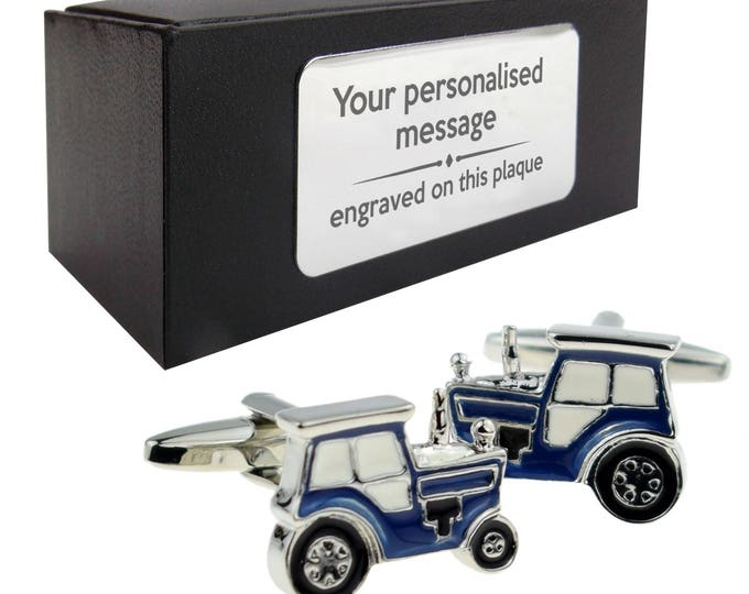 Farmer blue tractor novelty farming themed CUFFLINKS gift, presentation box personalised customized ENGRAVED plate - 217