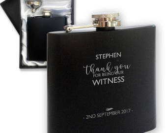 Personalised engraved WITNESS hip flask WEDDING gift idea, black coated stainless steel presentation box - STE4
