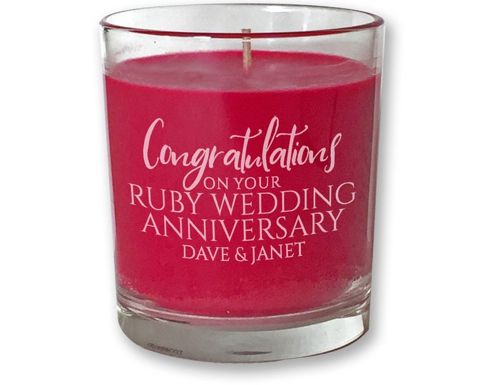 Personalised engraved RUBY ANNIVERSARY scented candle gift, 40th anniversary, red, candle votive - CDL-ANNR1