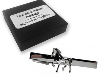 Horse, pony, equestrian, riding, TIE CLIP, tie tac, personalised ENGRAVED novelty birthday christmas wedding gift - 124