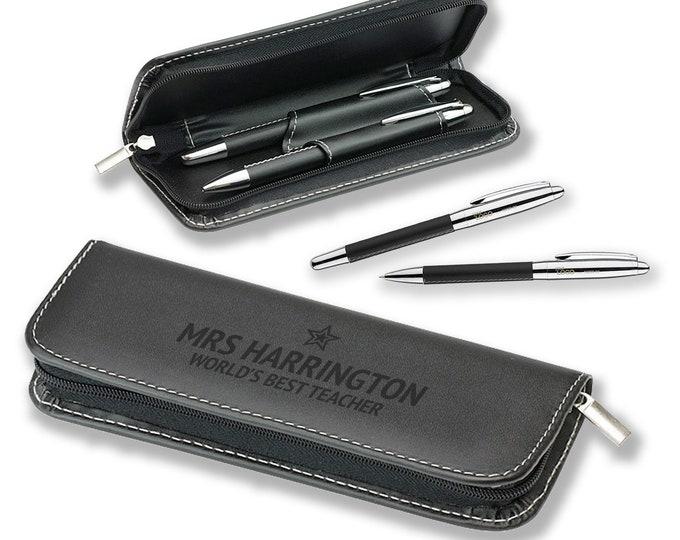 Personalised pen set, TEACHER, gift, engraved, leather pu, engraved pen, writing, blue ink, BLP-TEA1