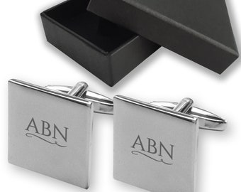 Personalised engraved MONOGRAM initials monogrammed cufflinks, square polished rhodium plated - SQV-MON
