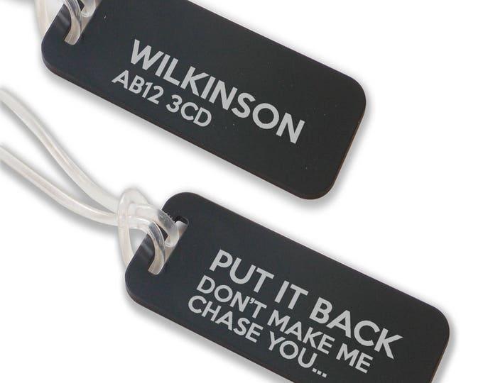 Personalised engraved suitcase holiday BAG luggage TAG, coloured aluminium custom luggage tag - ANB2-F1