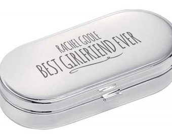 Personalised engraved PILL BOX gift for GIRLFRIEND, World's Best, dual compartment, mirror lid, polished chrome metal - 9004-NY12