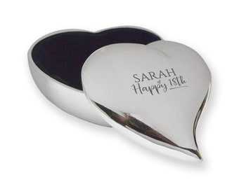 Personalised engraved 18th BIRTHDAY trinket box gift, silver plated, contoured heart,  - SLT-18