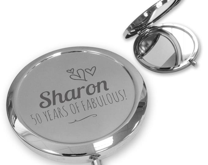 Personalised engraved 50th BIRTHDAY compact mirror gift, handbag mirror Push button, deluxe - PBBY50